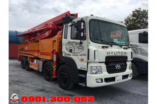 Xe bơm bê tông Hyundai 4 chân HD310 cần KCP 48 mét nhập khẩu
