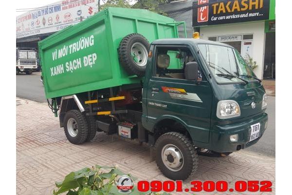 Xe chở rác 1.2 tấn vào ngõ hẽm - xe chở rác mini ben đỗ chiến thắng 1.2 tấn