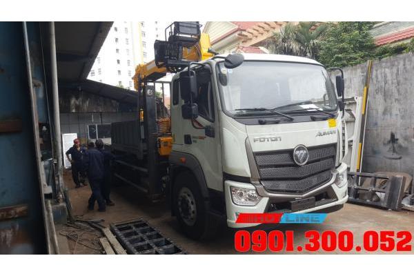 Xe nâng đầu Thaco Auman C240 gắn cẩu soosan SCS746L 8 tấn chở máy công trình